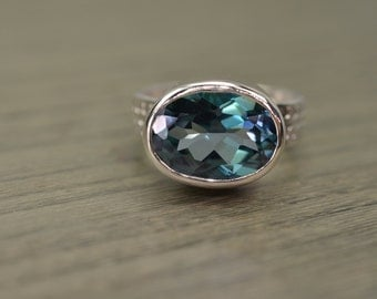 Teal Topaz, 8ct oval silver chunky wide band ring - Fiona Ring