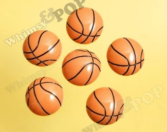 5 - Large Kawaii Sporty Sport Orange Basketballs Cabochons, Sport Resin Flatback Cabochons, Ball Cabochons, 25mm (R8-223)