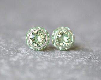 Mint Green Earrings Swarovski Crystal Minty Celery Green Rhinestone Studs Sugar Sparklers Small Mashugana