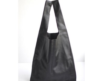 Black Leather Shopping Bag. Black Leather Shopping Tote Bag. Leather Shopping Bag. Tote Bag. Shopping Bag. Full Grained Leather. Leather Bag