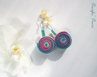 Turquoise Grey and Pink Felt Dangle Earrings with Wooden Beads