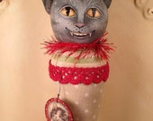 Folk ART One of a Kind Cat Ornament  Vintage Style Art Original Primitive team HaFair