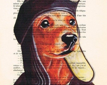 Acrylic painted protraits Illustration Original Prints Drawing Giclee Posters Mixed Media Art: Pilot Daschund