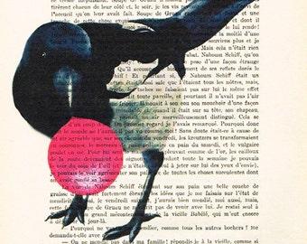 Still Life Drawing Illustration Original Painting Acrylic painting Still alive carambar Digital Print :Bird with bubblegum