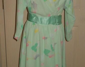 Vintage 1970 Jerry Silverman by Saulino Mint Green Chiffon  Dress