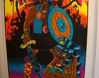 "Vintage"" The Conqueror"" Original Blacklight Screenprint poster FREE 1st Class Shipping"