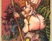 JungleGirl Zombie Hunter hand pulled silkscreen poster
