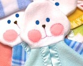 Soft cuddly blue bunny vintage bunny puppet blanket Fisher Price replica