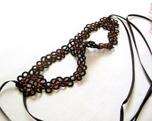 Masquerade mask - Black hand tatted lace mask with copper color beads - carnival accesory