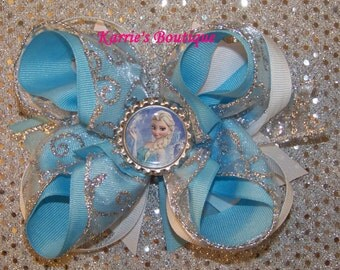 ELSA Frozen Hair Bow or Headband / Disney / Blue & Silver / Bling / Pageant / Photo Prop / Infant / Baby / Girl / Toddler / Custom Boutique