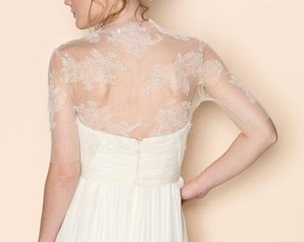 Eliza bridal french lace and illusion tulle bolero shrug cover up
