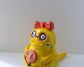 Polymer Clay Sculpture - Sunny Yellow Monster Figurine - Ms. Patricia Candyberg - Halloween Art Doll - Fantasy Lizard Creature - OOAK