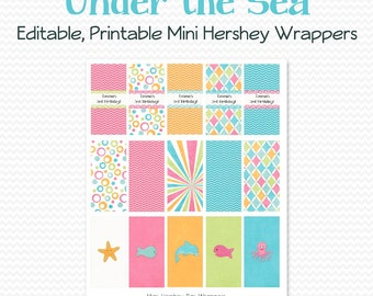 Summer Birthday Party Favor, Mini Candy Wrapper, Candy Bar, Chocolate Bar Label, Swimming, Baby Shower, Under the Sea  - Editable, Printable