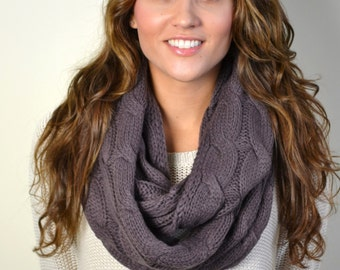 TAUPE Chunky Knitted Loop Infinity Circle Scarf Cable Pattern Snood Cowl Women's Fashion Accessory
