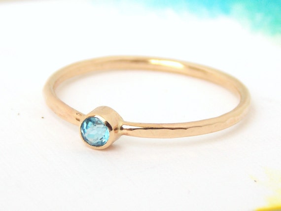 simple birthstone ring w hammered band by ritooriginals