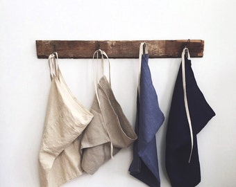 long cafe apron in indigo organic European hemp