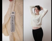 80s GIVENCHY SPORT Feminine Eyelet Sweater with Ruffle Neck, Small