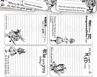Alice in Wonderland Journaling Cards - VD0394