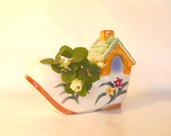CERAMIC PLANTER - Marked Occupied Japan - Mother Goose Shoe House, Kitchen Kitsch Spring Flowers Succulent Plant