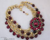 Statement Necklace - Rhinestone Necklace - Vintage Assemblage Necklace - Red Bib Necklace - Repurposed Jewelry