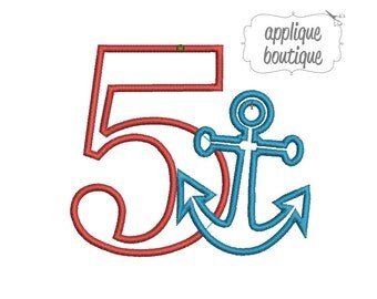 INSTANT DOWNLOAD, Machine Applique Design, Number Five with Anchor in Satin Stitch