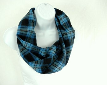 Cotton Flannel Circle Scarf Blue and Black Plaid Infinity Single Loop Scarf Handmade by Thimbledoodle