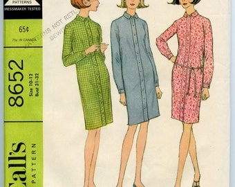 1960s Vintage Sewing Pattern McCall's 8652 Misses Slim Sheath Shirt Dress Bust 31-32