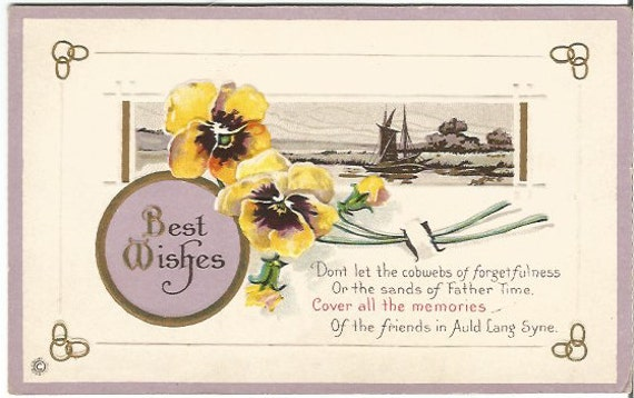 "Antique Postcard Pansy Flowers Sailboat Scene ""Best Wishes"" ""Dont let the cobwebs of forgetfulness or the sands of father time.."" 1910s"