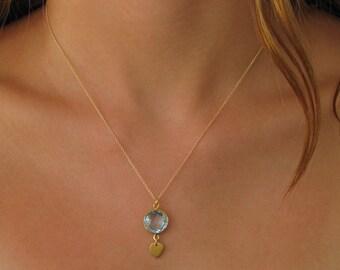 Blue Quartz Drop Necklace - Gemstone Necklace - Gold Necklace