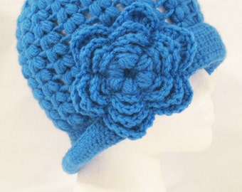 Cloche, flapper hat, beanie with flower attached hand crochet adult one size women's