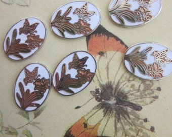 12 Cloisonne Enamel Flower And Butterfly Finding
