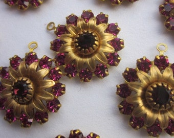 Vintage Swarovski Fuchsia And Burgundy Crystal Flowers