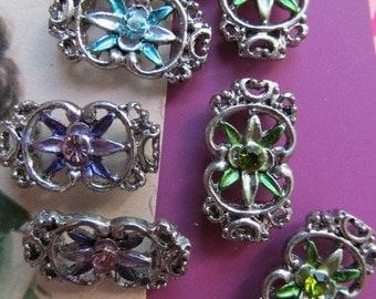 "Rhinestone Star Flower ""Sliders"" In Silver Finding"