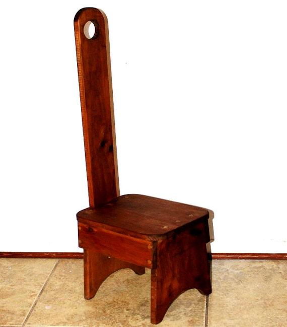 Primitive rustic farmhouse chair william fetner style keyhole for Farmhouse chair plans