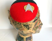 Vintage Star Trek Uniform Inspired Hat.  Star Trek Cocktail Hat,  Star Trek Captain Badge Hat, Star Trek Cosplay, Star Trek Fascinator Hat