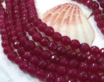 Fuchsia faceted Jade gemstone bead - 6 mm beads- full strand