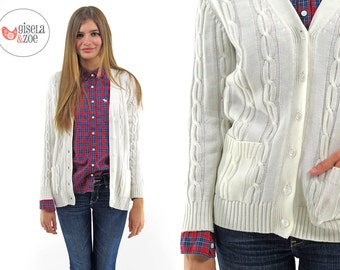 60s White Cable Knit Cardigan ΔΔ  White Cable Knit Cardigan Fitted Sweater Cardigan ΔΔ  can fit • xs • sm • md