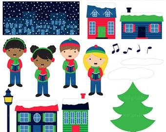 christmas clipart clip art digital sing carols singing - Singing Christmas Carols Clipart