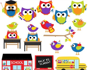 school owls birds clipart digital clip art - School Hoots and Tweets Digital Clip Art