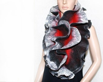 Handmade felted scarf Long Ruffle Jabot Neck warmerred double-sided Red black gray silver Made to order