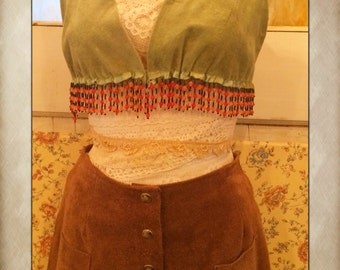 Vintage Tan Suede Shorts with pockets and Snap Buttons