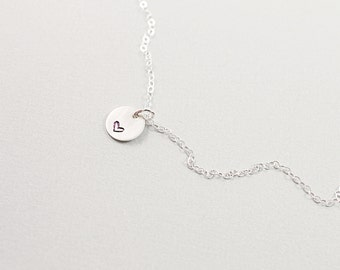 Hand stamped necklace: sterling silver heart necklace, love jewelry, engraved heart necklace, anniversary gift