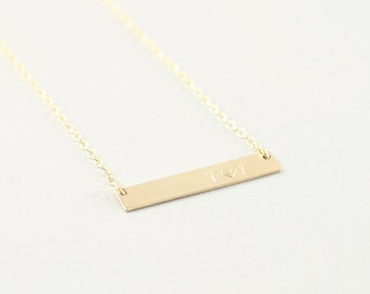 Custom 14k gold filled bar necklace, personalized gold bar initial necklace, heart necklace, gold engraved necklace, name tag