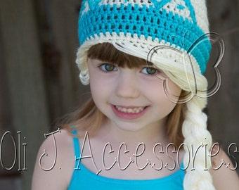 Girl's Princess Beanie w/ Braid & Tiara