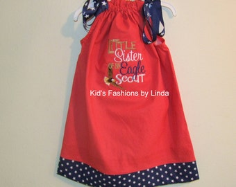 Red Mini Dot/Navy Stars Pillowcase Dress with Little Sister of an Eagle Scout