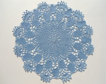 Crochet doily , blue doily , lace , round , 12 inches
