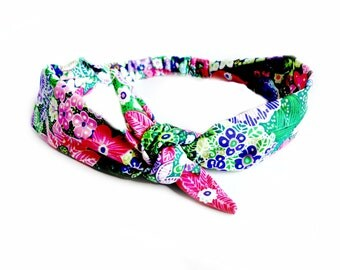 Rockabilly Floral Tie Headband, Rainbow Boho Summer Head Scarf, Bandana Bow Headband Pinup 1940s