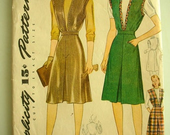 1940s Dress Sewing Pattern-Original Instructions-Summer Dress Jumper Simplicity 4363 WWII Era BUST 34 from The Back part of the Basement