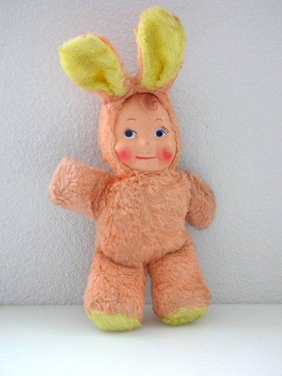 Rubber Face Doll In Bunny Costume 11 INCH  Stuffed Easter Bunny- Kewpie Rushton Style Cupie from The Back Part of the Basement