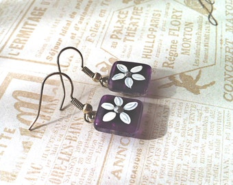 Glass Earrings, Purple Earrings with Daisy patterns, Hand Painted Glass Jewelry, Silver Plated Earwires, Purple Glass Earrings